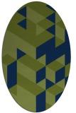 rug #997289 | oval blue retro rug
