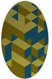 rug #997325 | oval green geometry rug