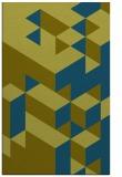 rug #997685 |  blue-green retro rug
