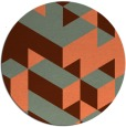 rug #998177 | round red-orange graphic rug