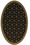 rug #999065 | oval mid-brown borders rug
