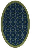 rug #999089 | oval green borders rug